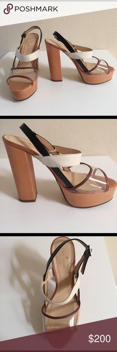🎉 HP! 🎉 Kate Spade NY Izzy Heels 📣 Bundles 2+ for 20%! 📣  These 4 inch Kate Spade platform heels are adorable. Great to wear on a summer day with a cute dress or for an outdoor wedding in the grass. They are mostly tan leather with a cream leather strap across the front and a black patent strap behind the heel. The top strap near the toes if clear bound by tan leather. Minimal wear and tear with moderate scratches on the heel. Dust bag included. Measurement is 9.75 inches from heel to…
