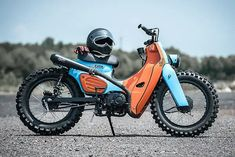 """Then 'Joey Boy,' the Thai Rap star, told custom shop K-Speed what he wanted. """"Can you build me a Honda Super Cub scrambler? Joey had seen a previous… Motos Honda, Honda Bikes, Honda Motorcycles, Custom Motorcycles, Custom Bikes, Triumph Scrambler, Honda Cub, Motorcycle Design, Motorcycle Bike"""