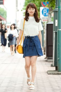 Japan Street Fashion Chambray Dress And Street Styles On