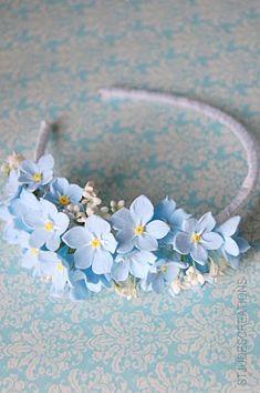 Flower Girl headband!!!.... forget-me-not - could make in darker blue nail varnish - for Anoush! Armenian rememberance