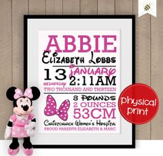Baby Girl Keepsake pink and black  physical by PaperBeeDesigns, $14.00