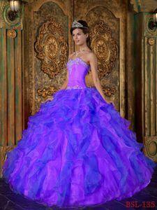 Princess Beaded Apple Green Sweet 15 Dresses with Ruffled Layers ...