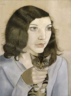 Lucien Freud, 'Girl with a Kitten' (portrait of his first wife Kitty) 1947