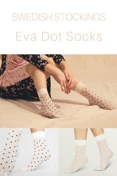 Perfect spring look with these dotted sheer socks. Easy to love, easy to wear! - 20 denier socks - Sheer - Soft and broad cuff - Toe reinforcements - 100% emission free socks - Knitted from recycled yarns #swedishstockings #ecofashionaustralia #ethicalfashionbrandsaustralia #quirkyfashioncute #australianwomensfashion Knee High Stockings, Scandi Chic, Sheer Socks, Ethical Fashion Brands, Recycled Yarn, Pink Socks, Quirky Fashion, Easy To Love, High Knees