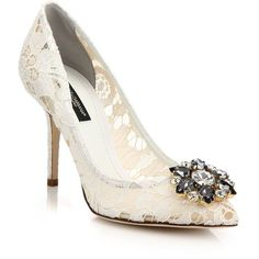 Dolce & Gabbana Embellished Lace Pumps (€890) ❤ liked on Polyvore featuring shoes, pumps, white, dolce gabbana shoes, white pointed toe pumps, jeweled pumps, lace evening shoes and embellished pumps