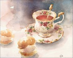 Cream Puffs Original unframed watercolor painting on a high quality 300 g/m - 140lb Acid Free Arches watercolor paper. Hand painted and signed