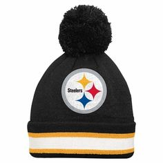 separation shoes 01117 92d86 Pittsburgh Steelers Youth Striped Cuff Cuffed Knit Hat w  Pom