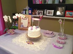 Sofia the First party cake and decor. Simple and delicate.