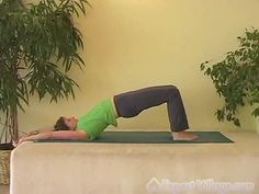 This is a single frame from a video at expertvillage.com called Bridge Pose Yoga Video.    To see this video click here.    To see all of our videos on Advanced Yoga click here.