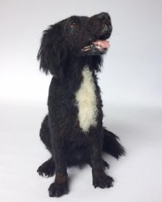 Needle felted dog sculpture