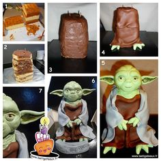 How to make a Yoda Cake 3D Gateau Yoda en 3D tutoriel Part.3