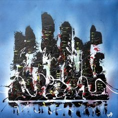 """""""URBAN LIFE"""" Textured contemporary cityscape painting on chunky canvas in black, white and blue http://www.hannahvanbergen.co.uk/cityscapes-2/359761_urban-life.html"""
