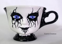 Creepy Blue Eyed Corpse Paint Doll Face Ceramic by CarrionComfort, $28.00