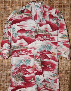Pierre Cardin Mens Hawaiian Shirt Size Large Casual Tropical Short Sleeve Dress  #pierrecardin #Hawaiian