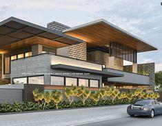 Best Modern House Design, Modern Villa Design, Modern Exterior House Designs, Bungalow Exterior, Minimalist House Design, Dream House Exterior, Exterior Design, 2 Storey House Design, Bungalow House Design