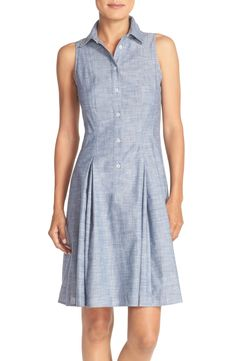 Free shipping and returns on London Times Collared Chambray Fit & Flare Dress at Nordstrom.com. Soft, breezy chambray gives just-right crispness to a pleat-flared shirtdress that adapts well to work or play.