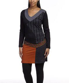 Look at this #zulilyfind! Black & Rust Patchwork Tunic by Leopards & Roses #zulilyfinds
