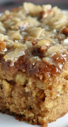 Oatmeal Cake – a moist oatmeal cake topped with a coconut and pecan streusel.