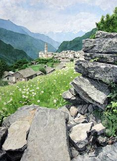 Excellent rock detail (Minori Tanaka watercolor)