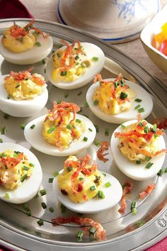 This easy appetizer melds the flavors of olives, egg, and salty salami.Recipe: Muffuletta Deviled Eggs