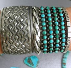 68g-Fred-Harvey-Era-Navajo-4-ROW-Green-BLue-Turquoise-Early-30s-Cuff-Bracelet