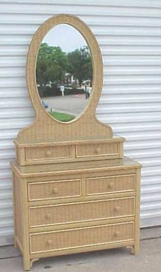 Henry Link White Wicker Glass Top Vanity Dresser With Oval