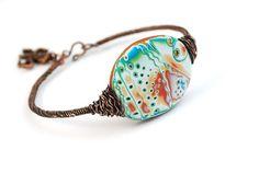 Polymer clay mokume gane bracelet by Bisenkan (Anastaysia Arynovich).