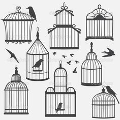 Bird cages silhouette — Stock Illustration #18220621