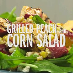 You'll find peaches and corn next to each other at the farmers' market starting in mid to-late summer, so why not put them together? We love the combo in this grilled warm-weather salad.