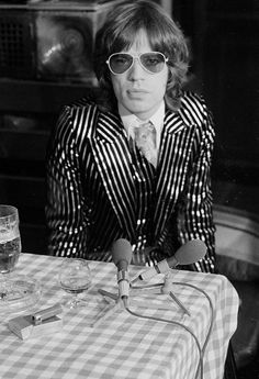 Mick Jagger rocks a striped suit in this 1973 picture.