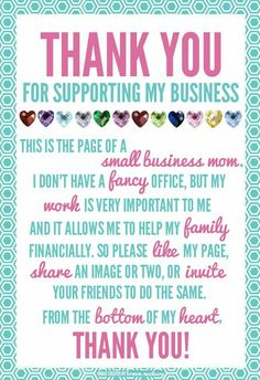 Did you know there's an easy way to help my small business without even buying anything? Every time you LIKE, SHARE, TAG OR COMMENT on my posts, you are helping me get the word out.Please Feel Free To Invite Your Friends And Family To Join My VIP Group! Thank you for taking the time to help a small businesses like mine.Like My Business Page: https://www.facebook.com/LorieJacksonJamberry/ Join My VIP Group: https://www.facebook.com/groups/JustAJamminWithLorieJackson