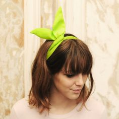 Neon green solid bendable wire bow headband. Cute and chic hair tie accessory. Head wrap in lightweight crepe.