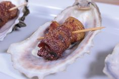 """Smoked oysters wrapped in bacon are very tasty and might be the perfect appetizer on this upcoming Valentine's Day. Also called """"Angels on Horseback"""". Smoked Oysters, Grilled Oysters, Fresh Oysters, Smoked Meat Recipes, Rib Recipes, Salmon Recipes, Cooking Recipes, Smoked Ribs, Smoked Bacon"""