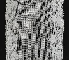 Lappet, Valenciennes bobbin lace, with plaited mesh, France. Costume Collection, Museum Collection, Antique Lace, Vintage Lace, Lacemaking, Linens And Lace, Bobbin Lace, Historical Costume, Embellishments