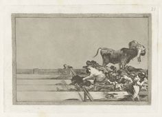 Francisco Goya, Spanish, 1746–1828, Desgracias acaecidas en el teniendo de la plaza de Madrid, y muerte del alcalde de Torrejon (Dreadful Events in the Front Rows of the Ring at Madrid and Death of the Mayor of Torrejon), from the series La tauromaquia, 1816. Etching, burnished aquatint, lavis, drypoint and burin, plate: 24.5 x 35.5 cm (9 5/8 x 14 in.); sheet: 31 x 44.1 cm (12 3/16 x 17 3/8 in.). The Arthur Ross Collection, 2012.159.38.21. Photo credit: Yale University Art Gallery.