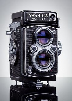 Yashica mat 124, fixed lens 120 roll film camera. Marketed to offer a budget alternative to the Rolleiflex.