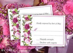 Nozze stampabile RSVP card modello vintage rose rosa di Oxee