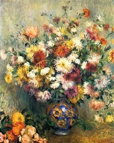 ルノワール【花瓶の黄金の菊】 Renoir Flower