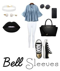 """Bell sleeves of the ball"" by maurieab on Polyvore featuring Miss Selfridge, Converse, MICHAEL Michael Kors, Vanessa Mooney and Lime Crime"