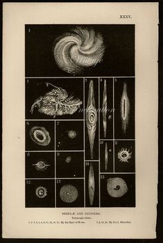 Vintage 1875 Antique Astronomy NEBULA AND CLUSTERS