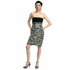 Sue Wong Womens Embroidered Strapless Cocktail Dress