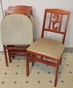 Mid Century Vintage Stakmore Wooden Folding Chairs By Ljindustries, $145.00  | INTERIORS | Pinterest | Folding Chairs, Mid Century And Wooden Folding  Chairs