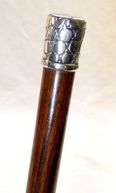 Victorian Sterling Silver Handled Dress Cane Walking Stick Maker's Mark