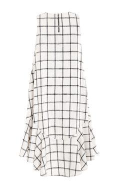 Plaid Linen Trapeze Ruffle Dress by Kaelen for Preorder on Moda Operandi