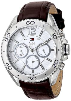 Tommy Hilfiger Men's 1791030 Stainless Steel Watch with Brown Leather Band ** More info could be found at the image url.