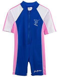 SunBusters Girls One Piece Short Sleeve Sunsuit, UPF Sun Protection Conservative Swimsuit, Toddler Girl, Infant Toddler, Rash Guard, Buttercup, Swimsuits, Swimwear, Wetsuit, One Piece