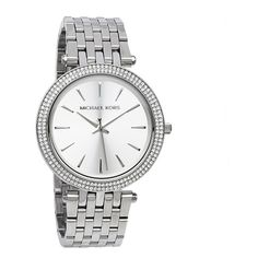 Micheal Kors Women's Darci Silver Dial Pave Bezel Diamond Watch MK3190 ($223) ❤ liked on Polyvore featuring jewelry, watches, crown jewelry, clasp bracelet, water resistant watches, diamond dial watches and pave bracelet