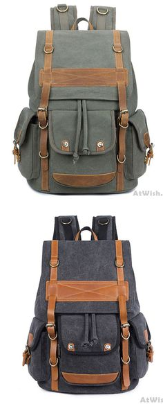 f894634972 Leisure Travel Large Canvas Backpack Retro Men s Three Pockets Outdoor  Rucksack for big sale!