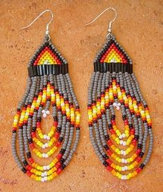 Beaded Native American Masked White Wolf Earrings