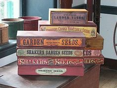 Shaker's garden seeds boxes.